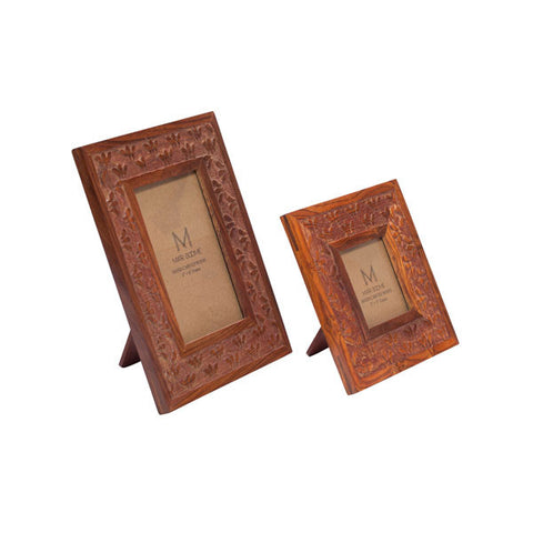 Fair Trade Botanical Rosewood Photo Frame - accent-details, assorted-styles, Botanical, decor, fair-trade, Hand Carved, particle board, photo frame, picture-frames-stands, wedding-decor, wood