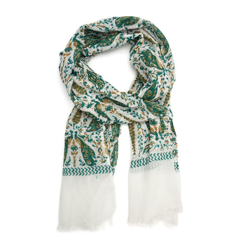 unique gifts fair trade sustainable eco shop small cotton scarves Fauna Scarf - Emerald Renaissance scarf by Matr Boomie
