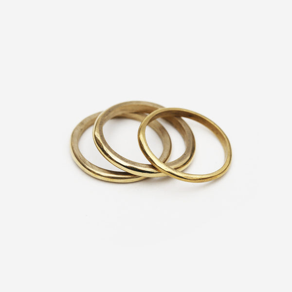Meyelo Fair Trade Thin Brass Stacking Ring - Rings - Shop Nectar - 1