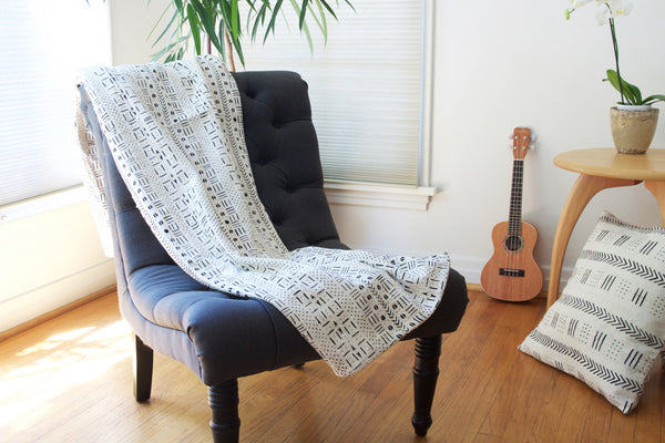 Fair Trade Queen's Cloth Mudcloth Throw Blanket from Mali, throw, throws, fair trade, eco, sustainable, handmade, handcrafted, hand drawn, hand painted, african design, african decor