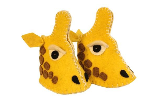 Fair Trade Felted Giraffe Baby Booties - assorted-styles, baby, Baby Booties, booties, children, children's, clothing-shoes-accessories, Eco, eco friendly, fair-trade, felt, Felted, handmade, slipper, social-responsibility, supporting-women, wool, unique, one-of-a-kind, fun, affordable
