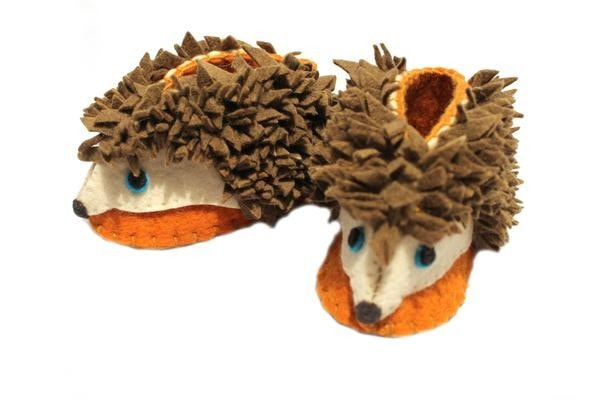 Unique Fair Trade Felted Hedgehog Baby Booties - baby, Baby Booties, booties, children, children's, clothing-shoes-accessories, Eco, eco friendly, fair-trade, felt, Felted, handmade, new baby, slipper, social-responsibility, supporting-women, wool, unique, one-of-a-kind, fun, affordable