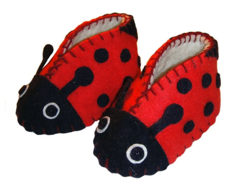 Fair Trade Felted Ladybug Baby Booties - assorted-styles, baby, Baby Booties, booties, children, children's, clothing-shoes-accessories, Eco, eco friendly, fair-trade, felt, Felted, handmade, New Baby, slipper, social-responsibility, supporting-women, wool, unique, one-of-a-kind, fun, affordable