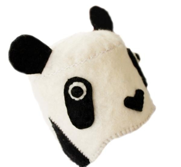 Fair Trade Felted Panda Bear Baby Hat