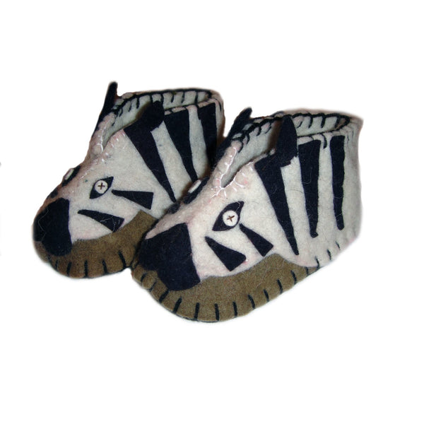 Fair Trade Felted Zebra Baby Booties - assorted-styles, baby, Baby Booties, children, children's, clothing-shoes-accessories, Eco, eco friendly, fair-trade, felt, Felted, handmade, new baby, slipper, social-responsibility, supporting-women, wool