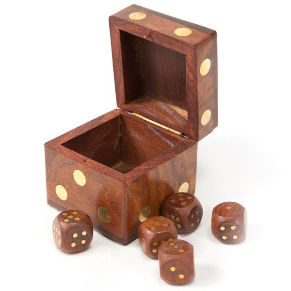 Fair Trade Indian Rosewood Dice Box - dice box, fair-trade, games, gifts-for-her, gifts-for-him, Hand Carved, handmade, Indian Rosewood, new-arrivals-in-gifts-indulgences, oddities-treasures, Sustainable, toys-games
