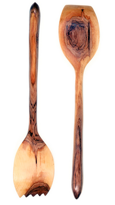 Fair Trade Bone Inlay Hand Carved Olive Wood Servers - Serving Utensils - Shop Nectar - 2