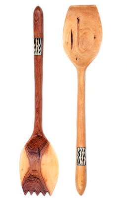 Fair Trade Bone Inlay Hand Carved Olive Wood Servers - africa, African, assorted-styles, bone, dyed bone, eco, fair-trade, flatware-utensils, gifts-for-the-host, gifts-for-the-occasion, Hand Carved, handmade, kitchen-dining, serveware, serving spoons, serving-utensils, sustainably, sustainably harvested, tabletop-dinnerware-1, wood