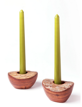Fair Trade Sandalwood Single Candlestick Holder - Candlestick Holders - Shop Nectar - 1