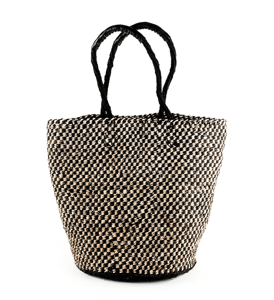 Fair Trade Handmade Checked Woven Basket - africa, African, basket, baskets, bathroom, Black and White, bohemian-chic, Boho Chic, checked, checker, decor, eco, fair-trade, Hand Woven, handmade, organizing-storage, shopping bag, storage, sustainably, sustainably harvested, Tote
