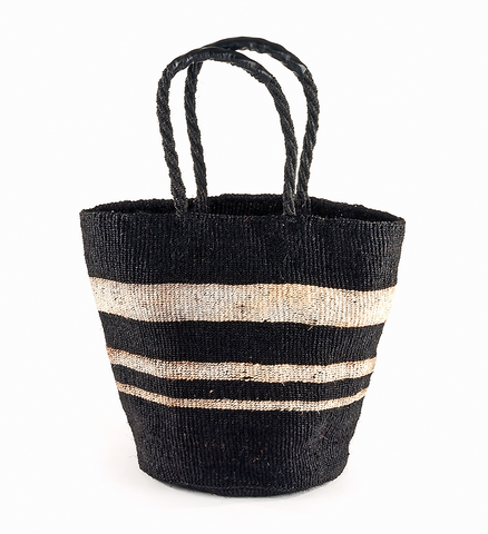 Fair Trade Handmade Striped Woven Basket - africa, African, Basket, baskets, bathroom, Black and White, bohemian-chic, Boho Chic, decor, eco, fair-trade, Hand Woven, handmade, organizing-storage, shopping bag, storage, sustainably, sustainably harvested, Tote