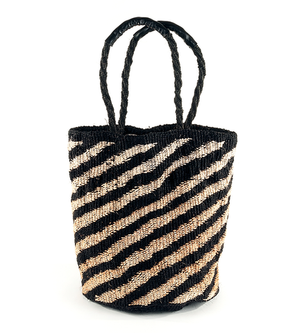 Fair Trade Handmade Zebra Woven Basket - africa, African, Basket, baskets, bathroom, Black and White, bohemian-chic, Boho Chic, decor, eco, fair-trade, Hand Woven, handmade, organizing-storage, shopping bag, storage, sustainably, sustainably harvested, Tote