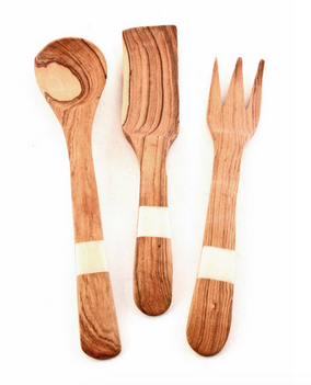Fair Trade Hand Carved Wooden White Bone Inlay Utensil Set - africa, African, bone, Dinnerware, dyed bone, eco, fair-trade, flatware-utensils, fork, gifts-for-the-host, gifts-for-the-occasion, Hand Carved, handmade, kitchen-dining, salad server, serveware, serving-utensils, spoon, sustainably, sustainably harvested, tabletop-dinnerware-1, utensils, wood