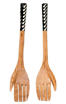 Fair Trade Olive Wood and Bone Inlay Hand Servers - Serving Utensils - Shop Nectar - 1