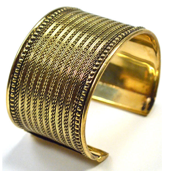 Fair Trade Fine Weave Brass Cuff - accessories, Adjustable, bracelets-bangles-cuffs, Cuff, cuffs, day, Etched, fair-trade, gift, gifts, gold, handmade, her, jewelry, mothers, woven metal