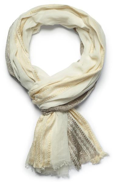 Goddess cotton fair trade ivory pewter gold scarf shop nectar