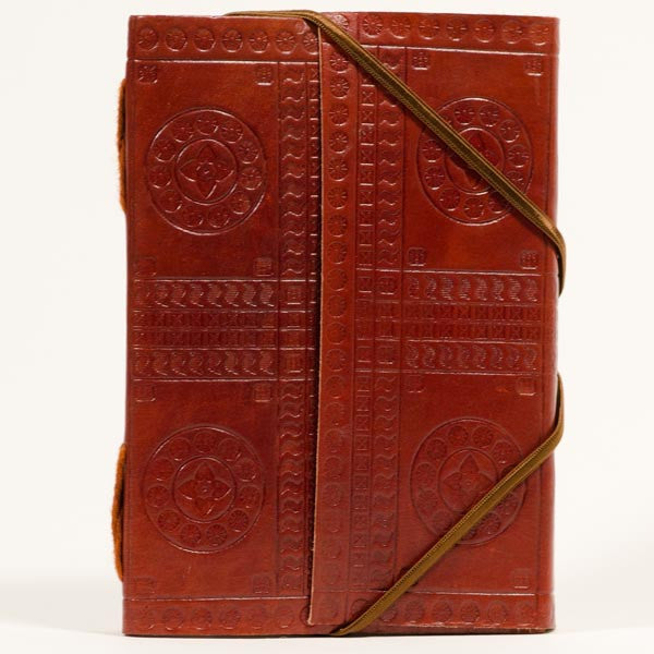 Large Handmade Fair Trade Embossed Brown Leather Journal - Journals - Shop Nectar