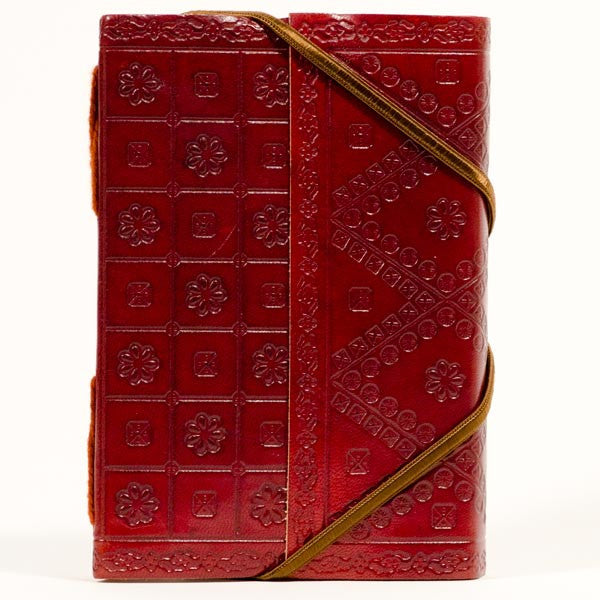 Small Handmade Fair Trade Embossed Leather Journal - books-journals, Embossed, fair-trade, handmade, journals, journals-scrapbooks-photo-albums, leather, recycled, red, Sustainable