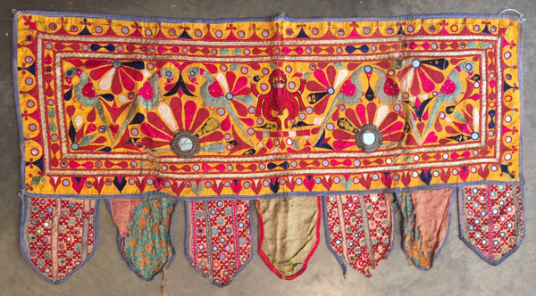 Valance, toran, India, Indian, Tapestry, door hanging, wall art, window covering, ganesh, ganesha, indian divinities