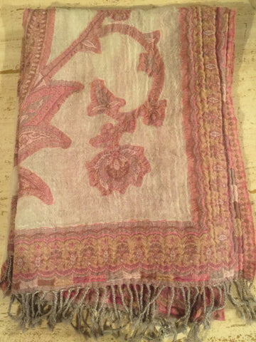 Boiled Wool Scarves - Pink and White - Scarves and Shawls - Shop Nectar