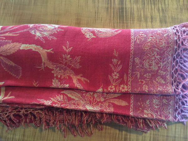 Indian Red Wool Coverlet - bedding-textiles, coverlets, quilts-coverlets-throws