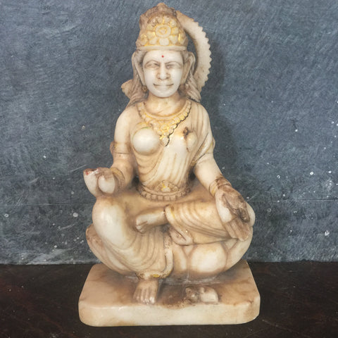 Vintage Hand Carved Parvati Marble Murti- Indian Statue - Shop Nectar