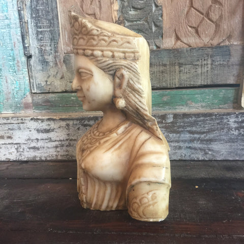 Hand Carved Marble Lakshmi Bust - bird-baths-statuary, decor, garden-outdoor, statuaries-and-shrines, statuary