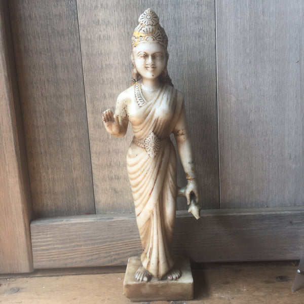 Hand Carved Marble Lakshmi Murti - Indian Statue - Shop Nectar