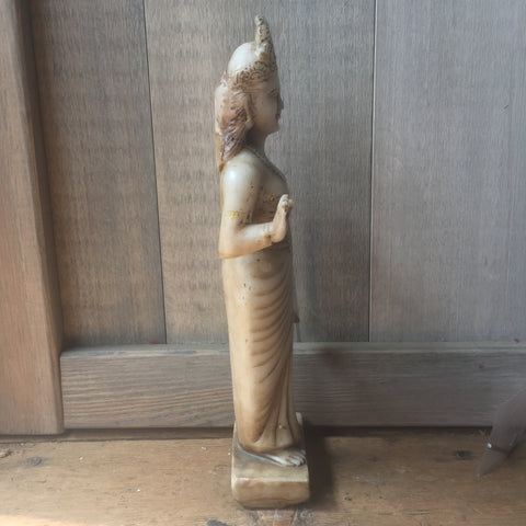 Hand Carved Marble Standing Lakshmi Murti - antique, bird-baths-statuary, decor, Devotional, garden-outdoor, Hindi, Hindu, India, marble, one-of-a-kind, sacred, statuaries-and-shrines, statuary, vintage