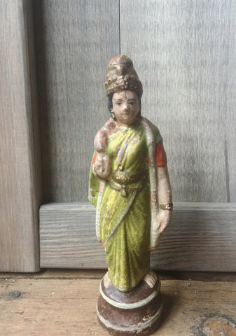 Hand Painted Lakshmi Terra Cotta Figurine - bird-baths-statuary, decor, garden-outdoor, statuaries-and-shrines, statuary