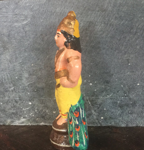 Hand Painted Kartikeya Terra Cotta Figurine - bird-baths-statuary, decor, garden-outdoor, statuaries-and-shrines, statuary