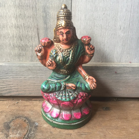 Lakshmi Terra Cotta Vintage Figurine - bird-baths-statuary, decor, Devotional, figurine, garden-outdoor, god, goddess, Hindu, India, Indian, oddities-treasures, sculpture, shrine, statuaries-and-shrines, statuary