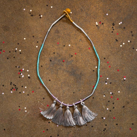 Fair Trade Indian Deco Tassel Summer Breeze Necklace - accessories, accessory, art silk, cotton, day, fair-trade, gift, gifts, Glass Beads, jewelry, mothers, Necklace, necklaces, tassel