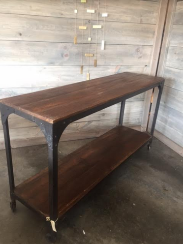 Metal and Reclaimed Wood Industrial Rolling Console