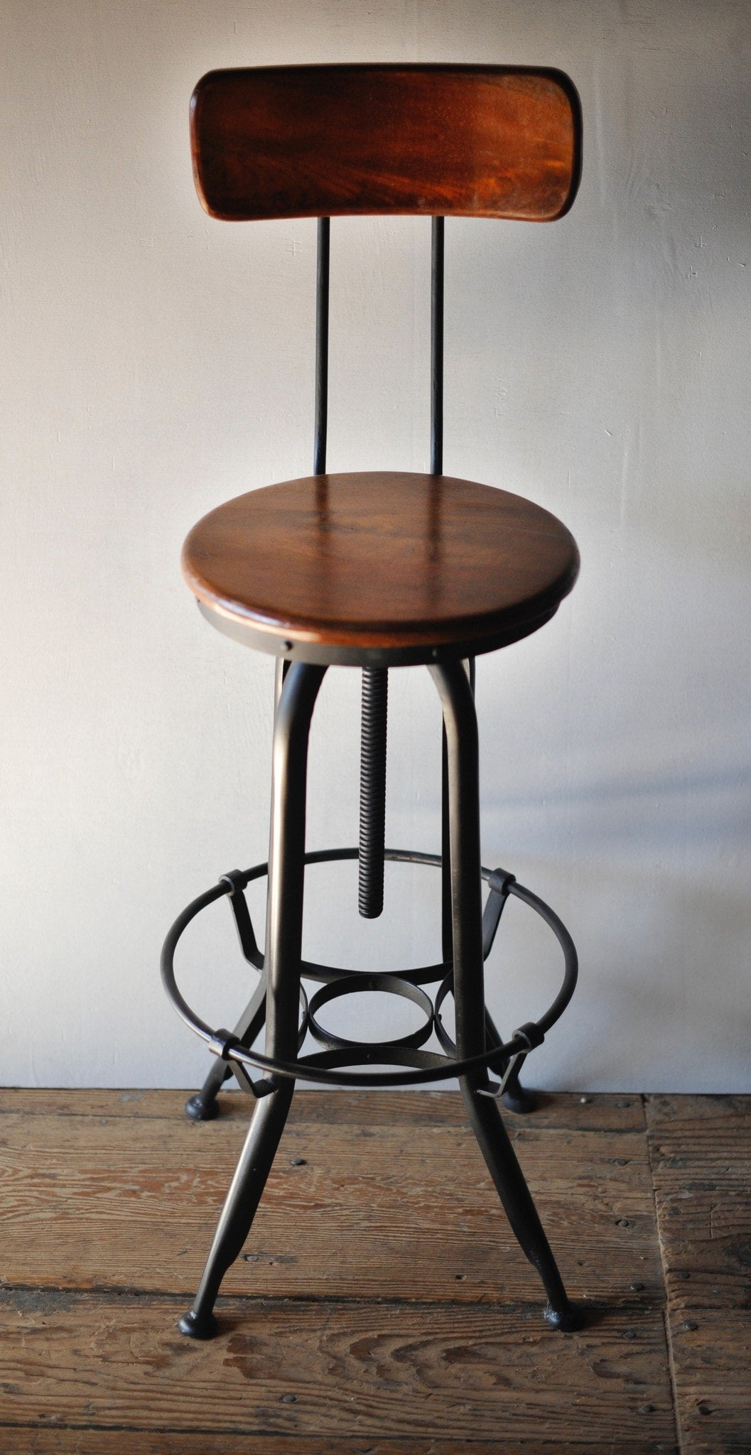 Industrial Metal and Wood Counter Stools