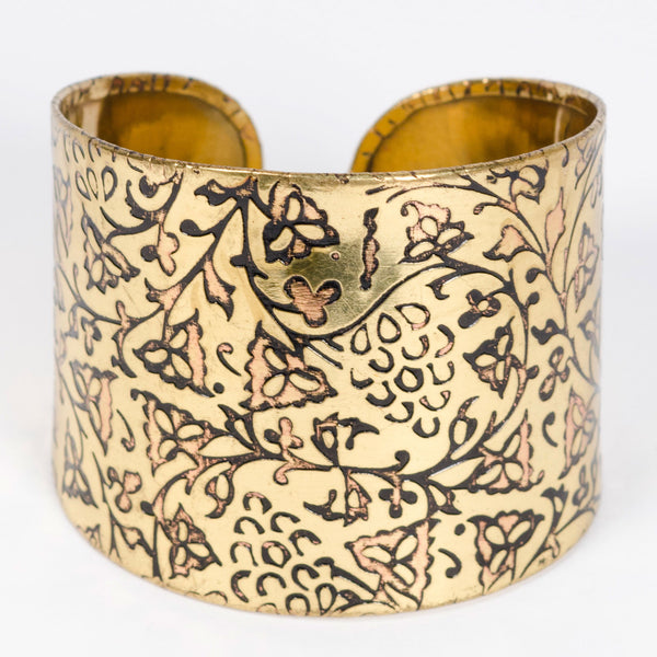 Fair Trade Ivy Vine Cuff by Matr Boomie - accessories, bracelets-bangles-cuffs, brass, Cuff, cuffs, day, Etched, fair-trade, gift, gifts, gold, handmade, her, jewelry, mothers