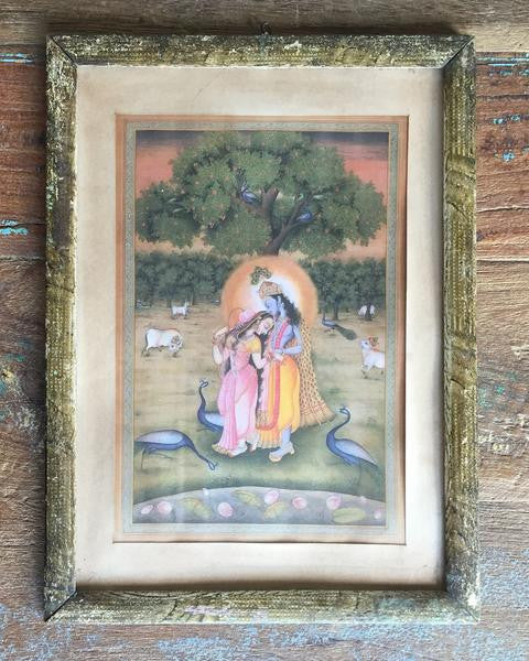 Antique Painting Reproduction in Vintage Wood Frame - Radha & Krishna with Peacocks Under a Tree - art, assorted-styles, bohemian-chic, Boho Chic, decor, devontional, Gift, gifts, gifts-for-her, gifts-for-him, gifts-for-the-couple, god, goddess, goddesses, gods, hindi, Hindu, hinduism, India, Indian, Indian divinities, krishna, new-arrivals-in-decor, one-of-a-kind, paintings-prints, radha, reclaimed-wood, religion, religious, vintage, wood, worship