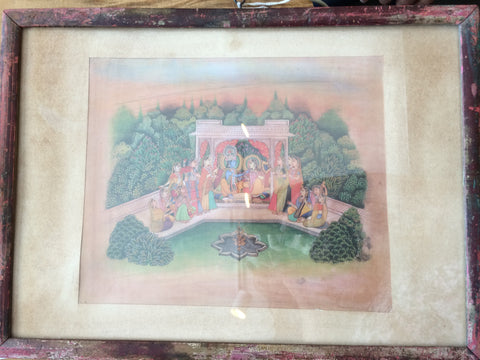 Krishna and Radha with Devotees at Gopiland Antique Indian Print