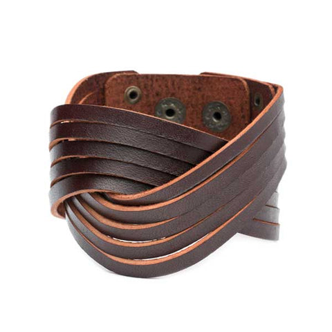 handmade fair trade men's atman sustainable leather cuff bracelet matr boomie shop nectar 2