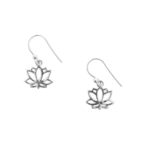 Shanasa Sterling Silver Lotus Flower Earrings by Matr Boomie - accessories, earrings, earring, charm, charm necklace, sterling silver, Necklaces, necklace, day, design, fair-trade, gift, gifts, silver, handmade, her, jewelry, mothers
