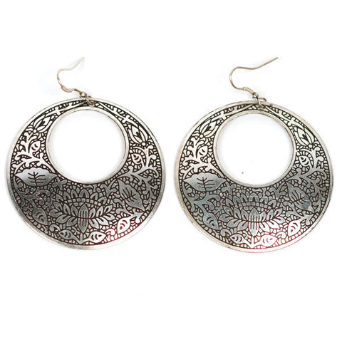 Fair Trade Metal Impression Earrings - accessories, day, drop-earrings, earrings, fair-trade, gift, gifts, handmade, her, jewelry, metal, mothers, silver