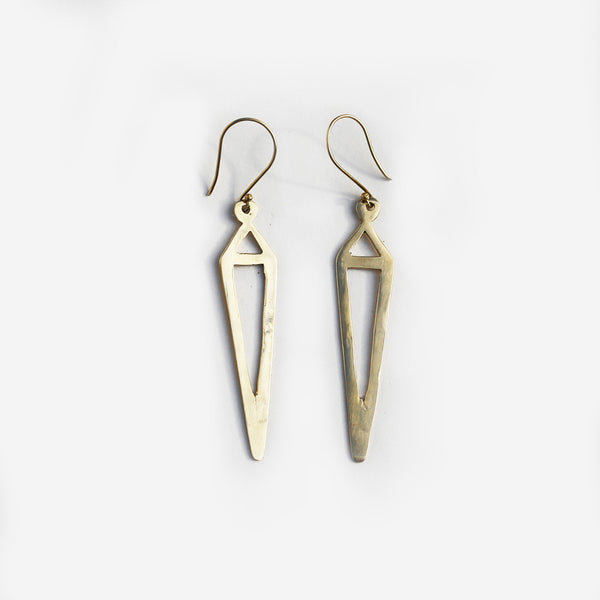 Meyelo Brass Steeple Fair Trade Earrings - Drop Earrings - Shop Nectar - 1