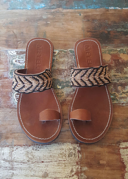 Meyelo Beaded Leather Fair Trade Sandals - Beaded, beads, Brown, clean-water, education, fair-trade, leather, Meyelo, red, sandals, shoes, slippers-shoes, summer, supporting-women