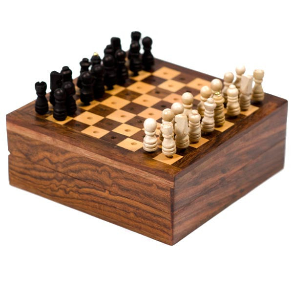 Fair Trade Travel Chess Game - box, brass, chess, fair-trade, games, Mini, toys-games, wood, wood carved