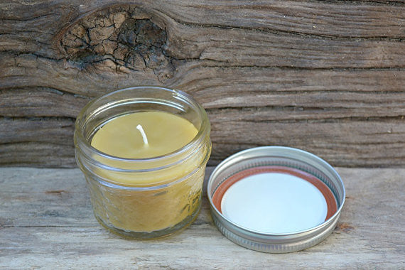 Mira's Naturals Pure Beeswax Jelly Jar Candle - american-made, Beekeeping, Beeswax, candles, candles-diffusers-incense, decor, handmade, hudson valley, jelly jar, Mira's Naturals, Natural, New York