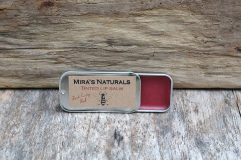 Mira's Naturals Rock City Red Tinted Lip Balm - american-made, bath-beauty, beauty, beauty-hair-care, Bees, Beeswax, body, care, day, Gift, gifts, Hudson Valley, lip-balms, mothers, Natural, wax