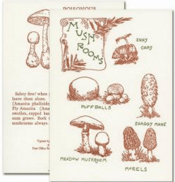 "Saturn Press ""Mushroom Guide"" Letterpress Card - american-made, assorted-styles, Card, cards, cards-stationary, congratulations card, Eco, eco-friendly, get well soon card, Gift, gifts, gifts-for-her, gifts-for-him, gifts-for-the-couple, greeting, Greeting Card, handmade, happy anniversary card, happy birthaday card, recycled, recycled paper, stationary, stationery, Sustainable"