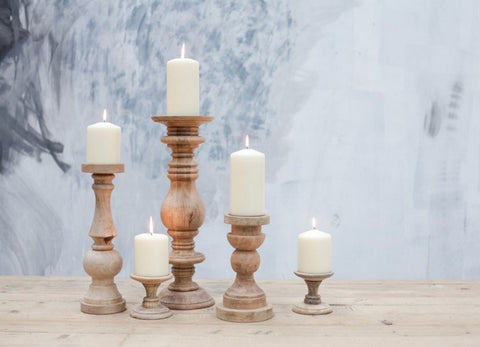 Nkuku Fair Trade Mango Wood Akello Candlesticks