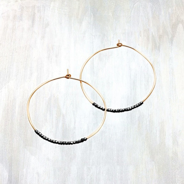 Oxidized Bead Hoop Earring by Fail - 14k Gold, american-made, assorted-styles, Beaded, beads, earring, earrings, gift, gifts, gold, hand made, hoops, jewelry, silver, Sterling Silver