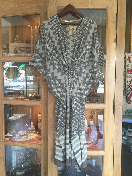 Grey Block Printed Indian Kaftan with Drawstring Waist